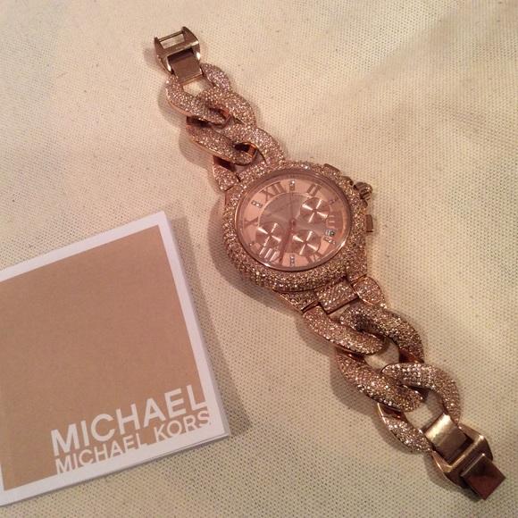 f6946c1d9fff Michael Kors Rose Gold Camille Pave Bracelet Watch.  M 5ac6b76c077b9769c1b4e728